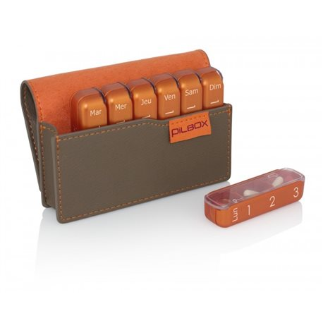 PILBOX MIN pilulier  hebdomadaire modulable TAUPE